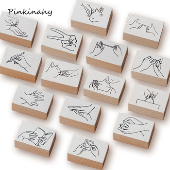 Sello de madera de gesto Vintage DIY sellos de goma madera para papelería scrapbooking sello estándar decoración papelería YZ003