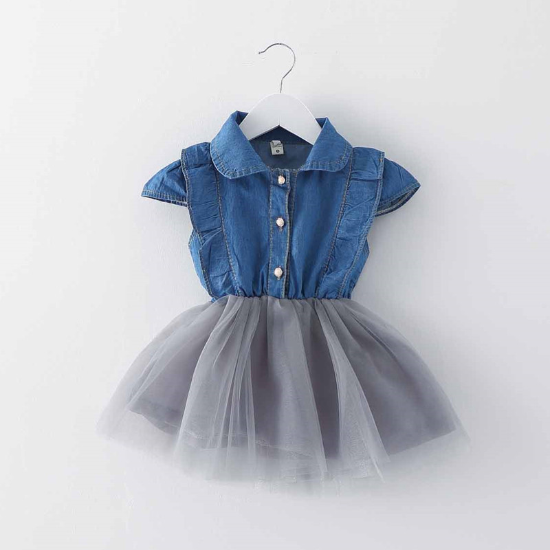 Girl's clothes 2017 summer baby girl dress little girl's clothes 0-3 year old girl dress Jeans Dress Fashion New / dress the little old lady in saint tropez