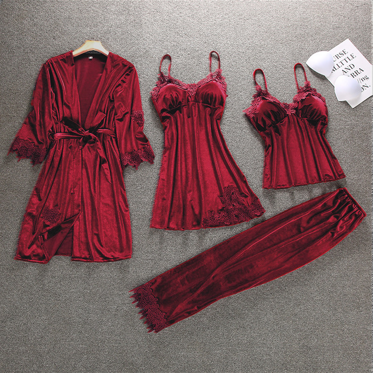 Autumn Velour Womens Kimono 4pcs Strap Top Pants Suit Robe Bath Gown Sleepwear Sets Casual Pajamas