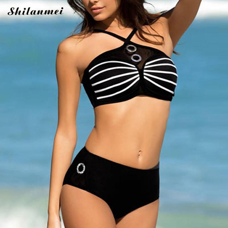 2017 Cute Sexy Girls Halter Cartoon Cat Eye Push Up Bikini Sets Beach Swimwear Women Swimsuit Bathing Suits Maillot