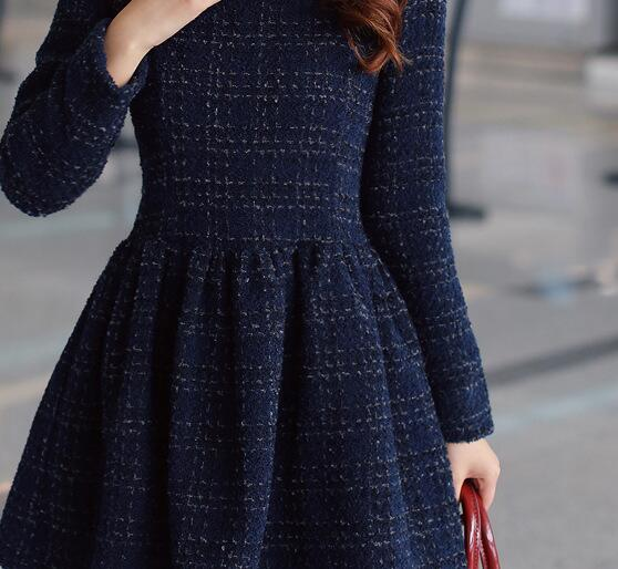 215dd0e1e73 Tweed Dress 2017 Spring New Design Dress Long Sleeve Plaid Elegant Dress  Women Pleated Dress Blue Size S XXL-in Dresses from Women's Clothing on ...