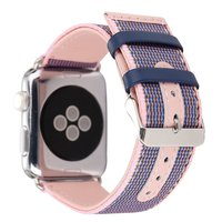 Woven Canvas Casual Sports Watch Band Iwatch Strap Genuine Leather Watch Belt For Apple Watch