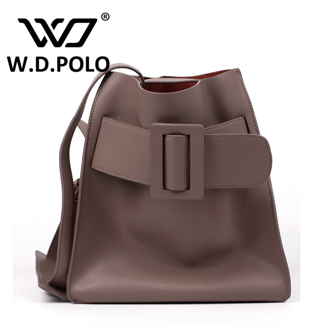 W.D.POLO High chic Genuine leather women hand bags fashion big tote the belt buckle shoulder bags lady valentines lover M2239