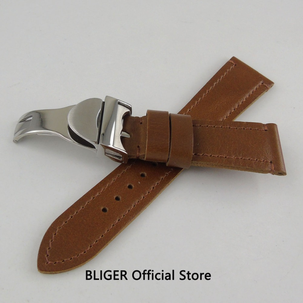 цена 22MM Brown Leather Watch Strap Stainless Steel Deployment Buckle Watch Band For Watches (Strap+Buckle) онлайн в 2017 году
