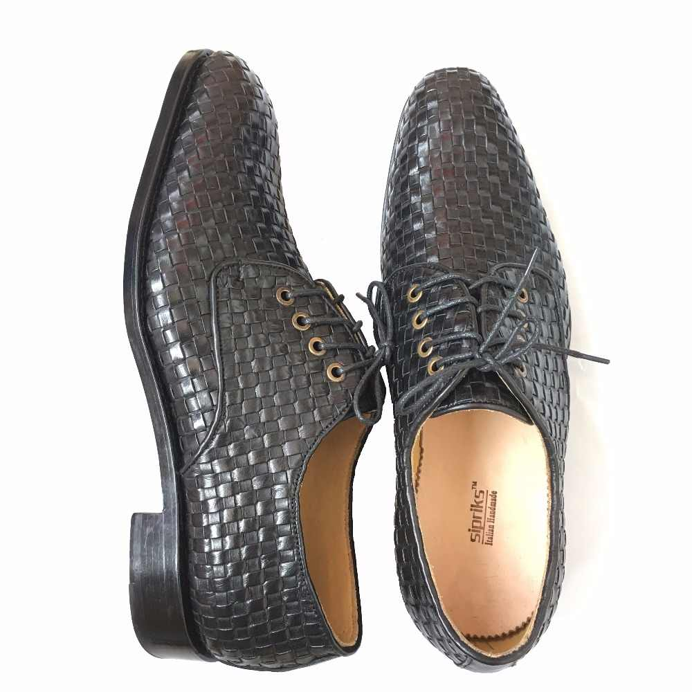 Sipriks บุรุษ Blake welted Elegant BOSS ทอรองเท้าหนังอิตาเลี่ยน braided หนังรองเท้า hipster Mens Gents ชุดรองเท้า