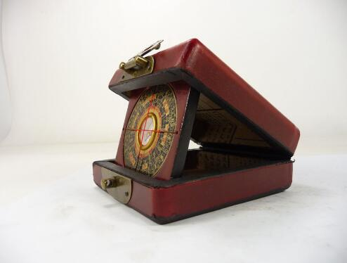 Handwork old china wood usable compass with box paint dragon phoenix Boxes