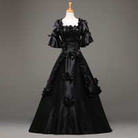 2018 Fashion Black Short Sleeve Gothic Victorian Dress Halloween Party dress Costume Customized