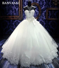 BANVASAC 2017 Baru Kristal Mewah Strapless Wedding Dresses Lengan Ikatan Simpul Sash Bordir Satin Lace Bridal Ball Gowns