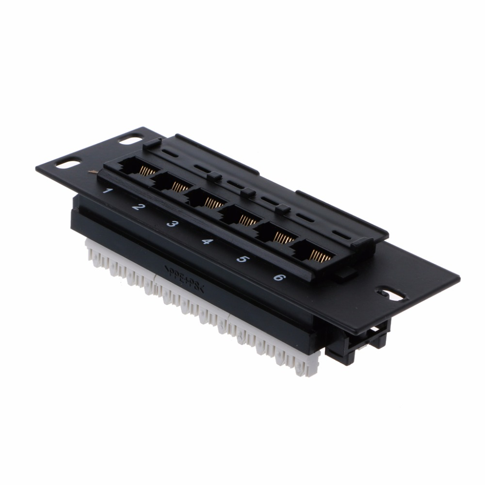6 Port Ethernet LAN Network Adapter CAT5 CAT5E Patch Panel RJ45 Networking Wall Mount Rack Mount Bracket High Quality C26 3