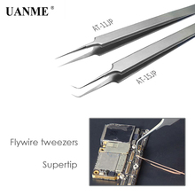 UANME Ultra Precision Tweezers Stainless Steel Curved FlywireTweezers Pliers with Fine Tip Supper Sharp Needle стоимость
