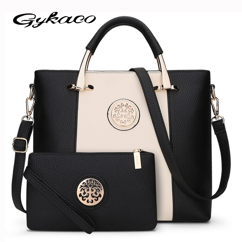 2017 New 2 Bags/Set European And American Style Women Tote Bag Brand Designer Women Messenger Shoulder Bags Handbag And Purse 2018 women messenger bags vintage cross body shoulder purse women bag bolsa feminina handbag bags custom picture bags purse tote