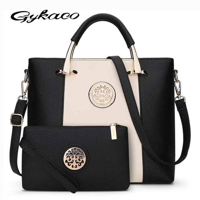 2017 New 2 Bags Set European And American Style Women Tote Bag Brand  Designer Women Messenger Shoulder Bags Handbag And Purse 4e35980d31
