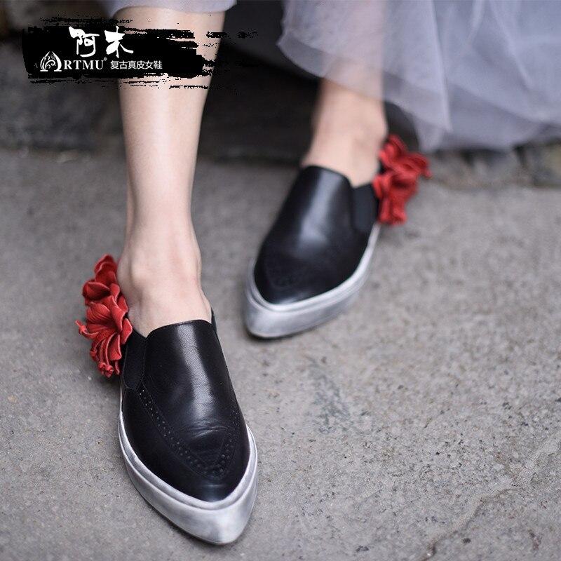 Artmu Fashion Women Shoes Flowers Handmade Genuine Leather Shoes Soft Dress Shoes Point Toe tenis feminino