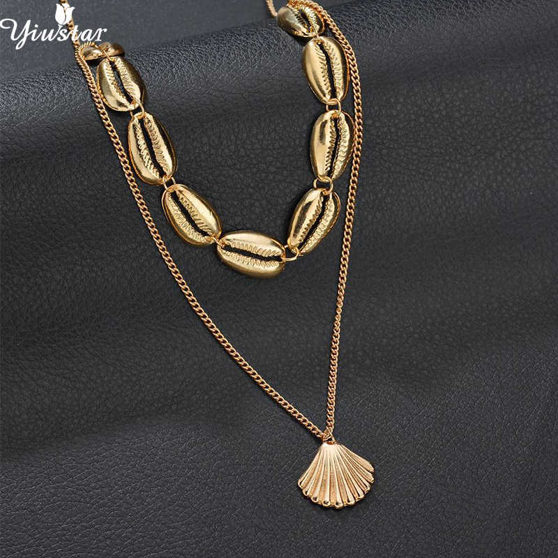 Yiustar Bohemian Two Layers of Shell Pendant Necklace Natural Sea Shells Gold Color Cowrie Women Girls Seashell Choker Necklace