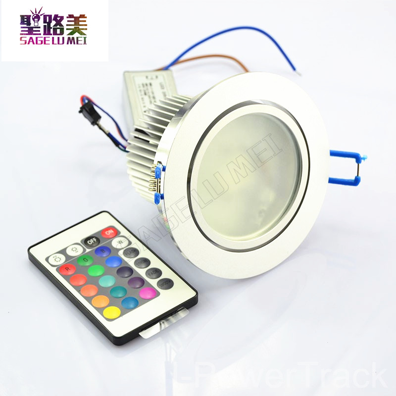 AC85V-265V 10W Color Change RGB LED Remote Recessed Cabinet Lamp Ceiling Spot Down Light colorful led downlight LED spotlight 6pcs set with driver cable connector cree 3w mini led cabinet downlight led recessed cabinet spot light white warm white