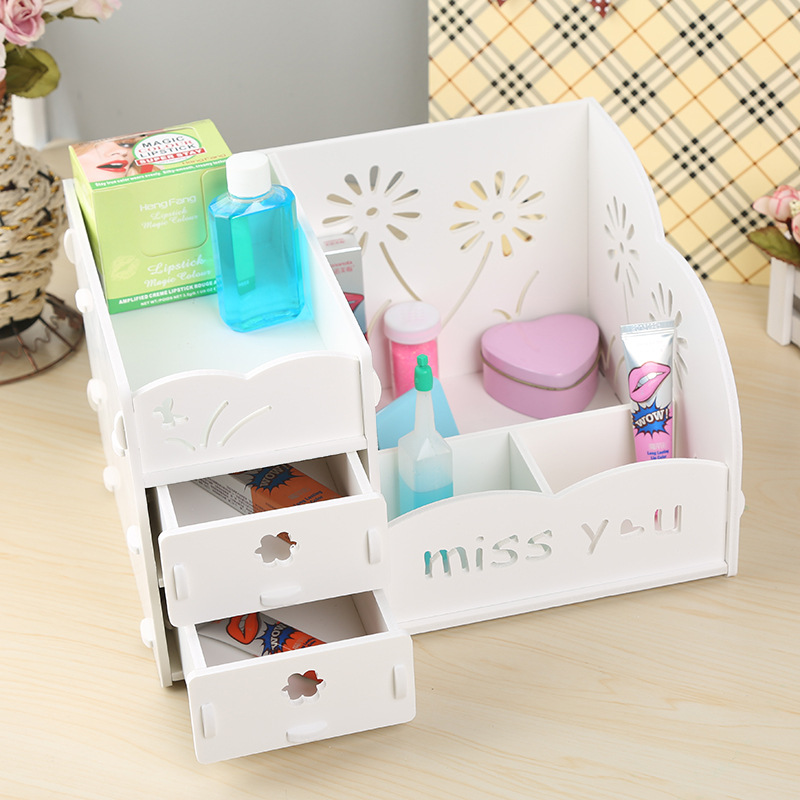 Multifunction Wood Storage Box Makeup Organizer Cosmetics Desk Accessories Desktop Organizer Nail Polish Brushes Box Container