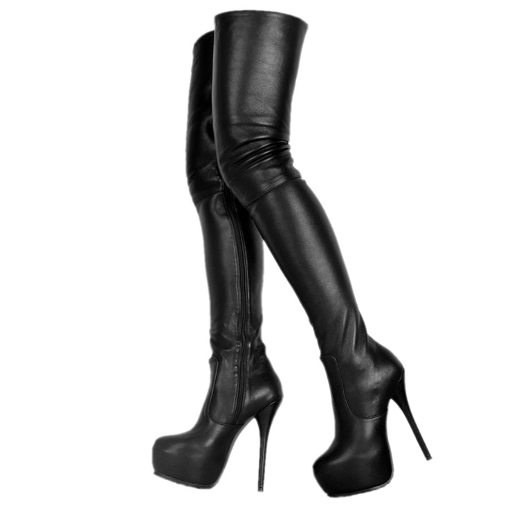 Zapatos Mujer Black Platform Over The Knee Boots Shoes Thigh High Heel Black Leather Crotch Motorcycle Rain Batas Plus Size 46