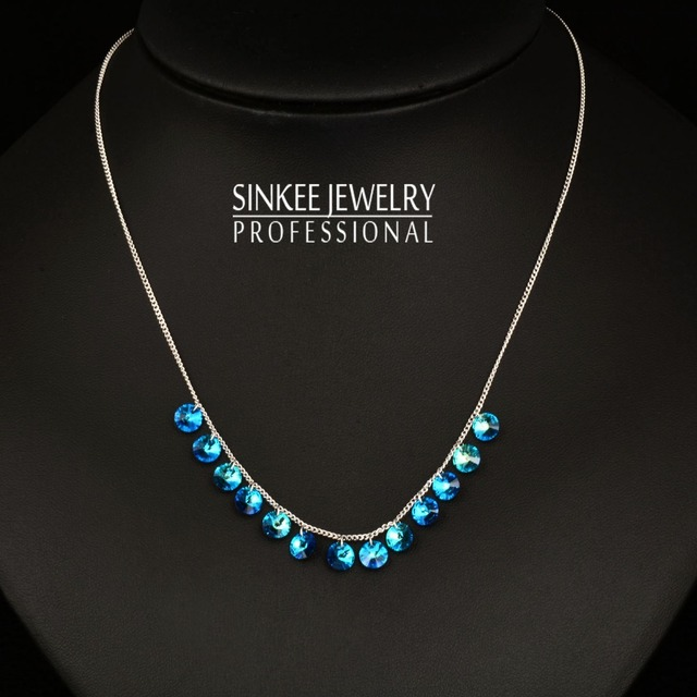 Encanto de la alta Calidad Auténtico Cristal Azul Gargantilla Collar Para Las Mujeres Regalos de Boda XL629