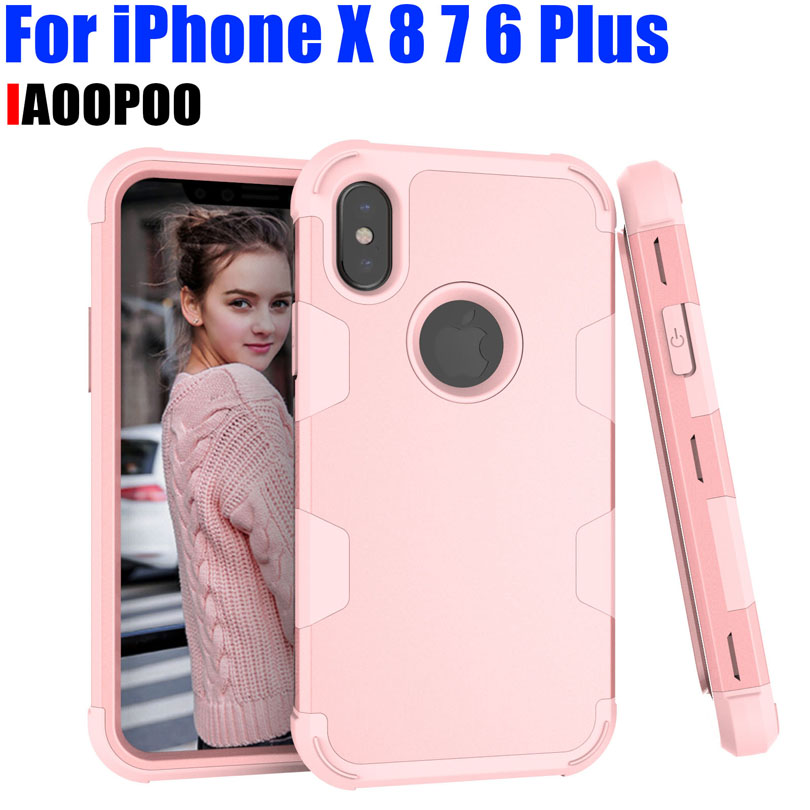 Heavy Duty Shock Drop proof Case for IPhone X 8 7 6 6S Plus TPU + PC 3-Layers Hybrid Full-Body Cover Phone Shell IPX03