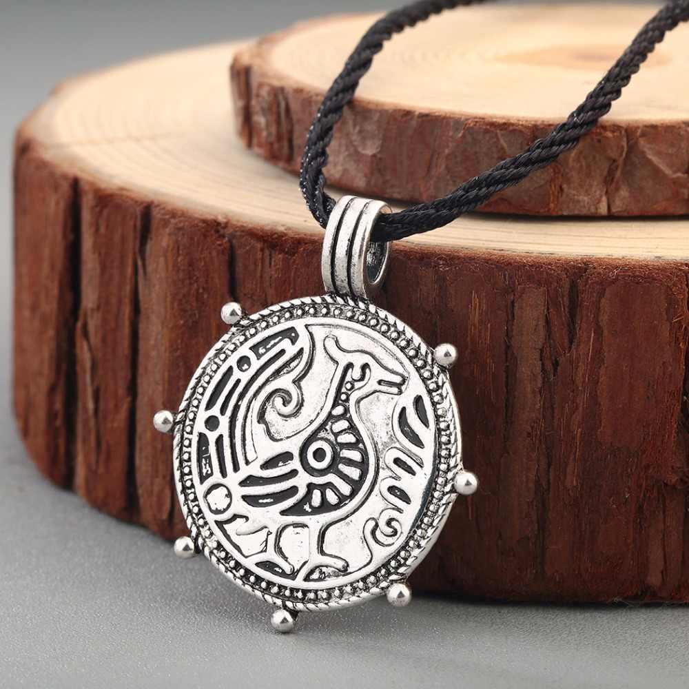 CHENGXUN Vintage ผู้ชายโบราณสร้อยคอ Retro ไวกิ้ง Amulet Runes สัตว์มังกรจี้ Slavic Talisman เครื่องประดับโกธิค