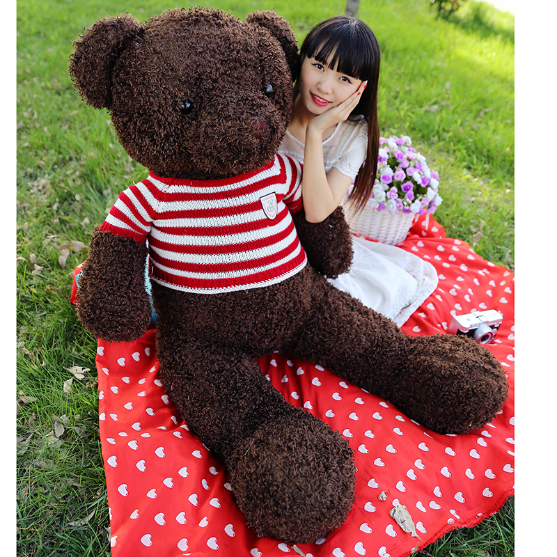 stuffed toy, new arrival huge 140cm dark brown teddy bear plush toy bear doll soft hugging pillow Christmas gift b1269 new stuffed dark brown squint eyes teddy bear plush 200 cm doll 78 inch toy gift wb8402
