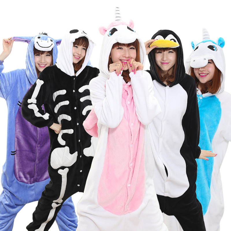 Anime Women Pajamas Unicorn Pikachu Stitch Costume Cosplay Winter Hooded Adult Sleepwear Onesies Flannel Cartoon Unisex Pyjamas