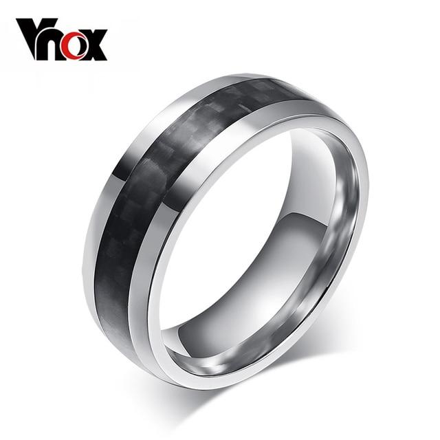 Vnox fashion men ring carbon fiber jewelry stainless steel