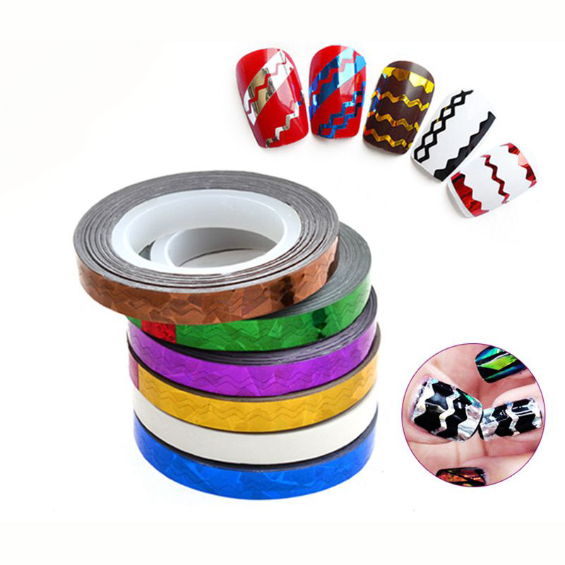 Gold Striping Tape Nail Art: 1 Roll Nail Art Wave Gold Silver Line Striping Tape 6mm