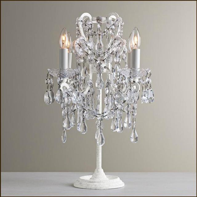 French Style Palace Crystal Study Desk Light Bedroom Table Lamps