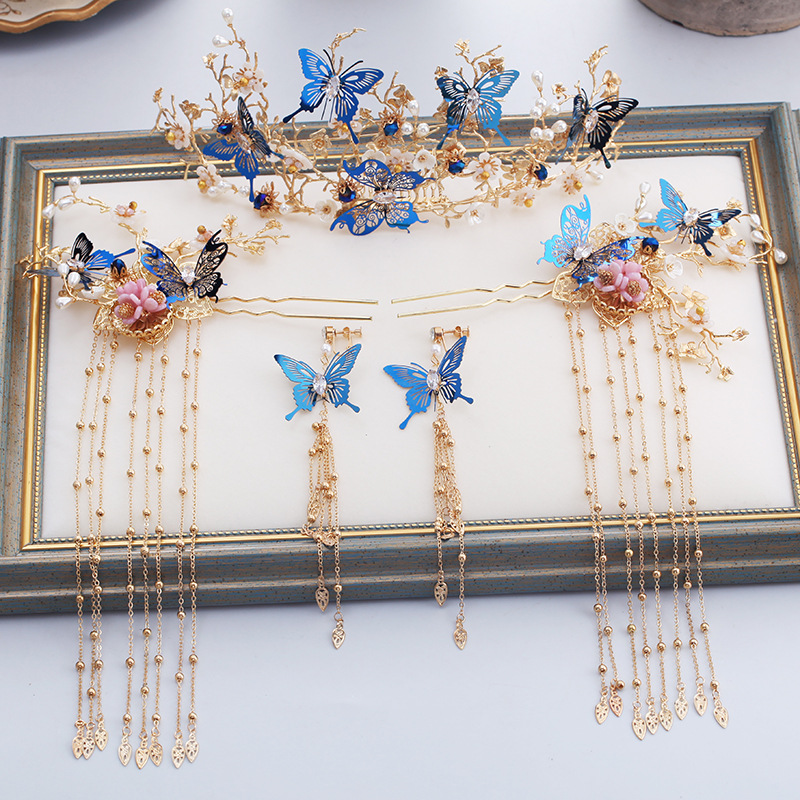 Chinois bleu papillon dragon et phoenix mariée coiffure ancien costume épingle à cheveux étape secouer classique accessoires de mariage
