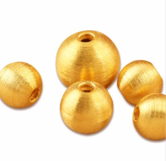 New Pure 999 24K Yellow Gold Lucky 8mm Brushed Bead Pendant classic new 10pcs 999 24k yellow gold pendant sandstone loose bead pendant