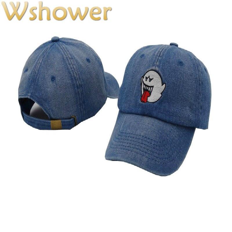 49bea05ad6eae Que en la ducha negro Denim Bordado lengua Ghost gorra de béisbol mujeres  hip hop mujer hombre casquillo del camionero tapa a presión en Gorras de  béisbol ...