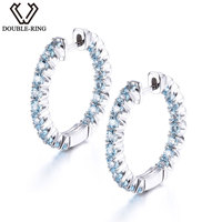 DOUBLE R Genuine Natural Blue Topaz Classic Hoop Earrings 100% Real 925 Sterling Silver Fine Wedding Jewelry Earrings For Women