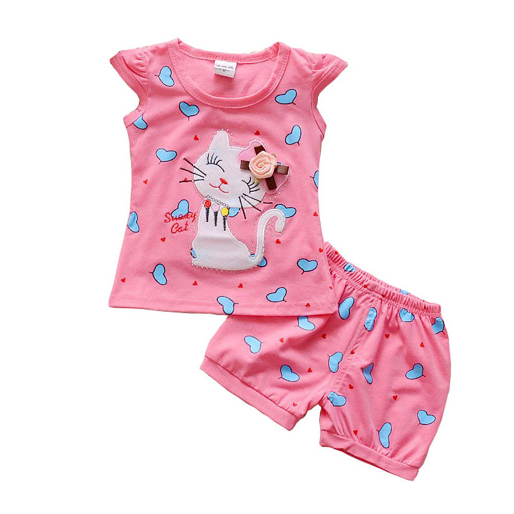 BibiCola Infant clothes toddler children summer baby girls clothing sets cartoon 2pcs cat love clothes sets girls summer set hot sale new summer children clothing set baby girl set o neck sets baby tutu skirt set 2 8 years toddler girls clothes