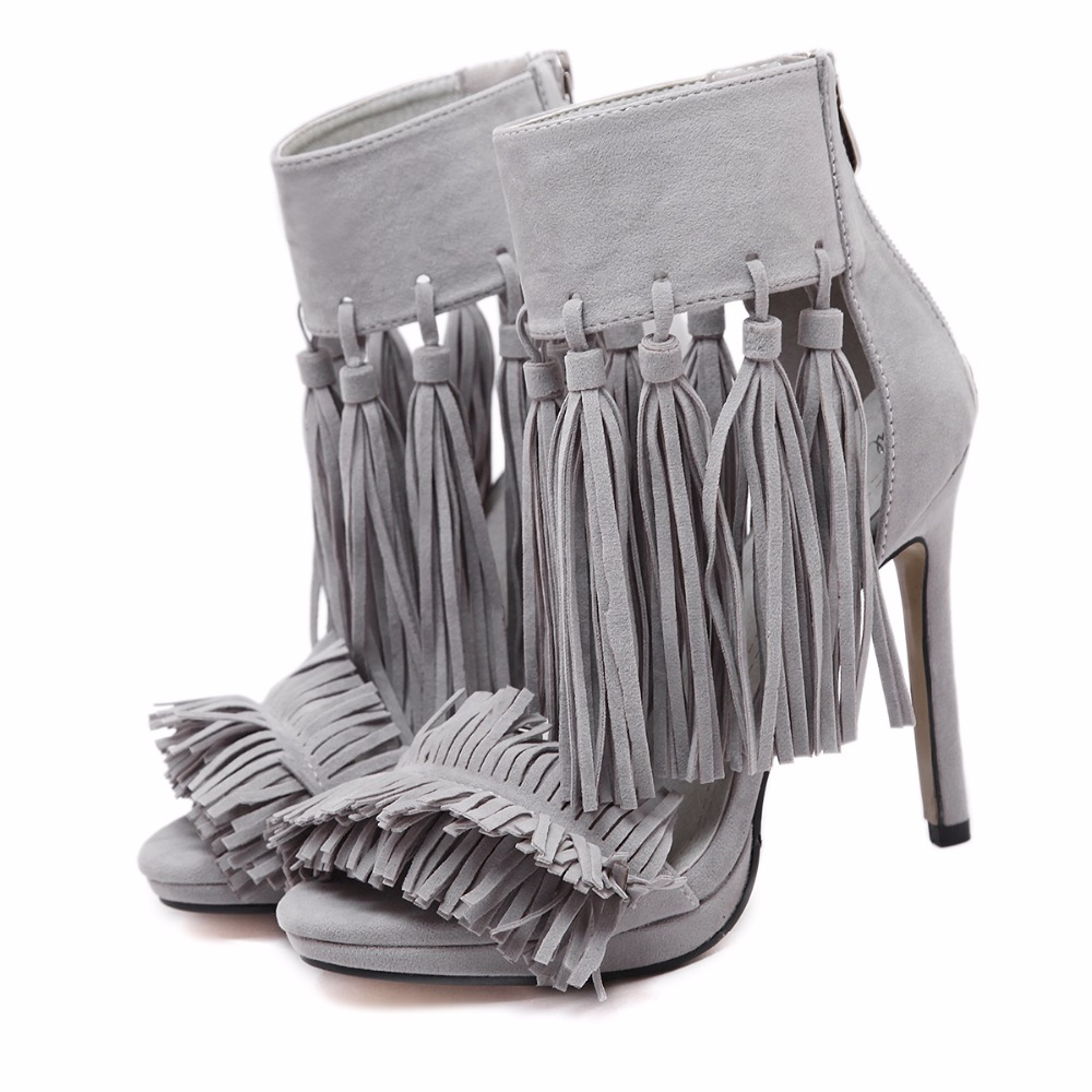 ФОТО 2017 Summer Fashion Sexy Girl Black Red Gray Tassels gladiator Grass Skirt Sandals Peep Toe Women Sandals Woman Wedding Shoes