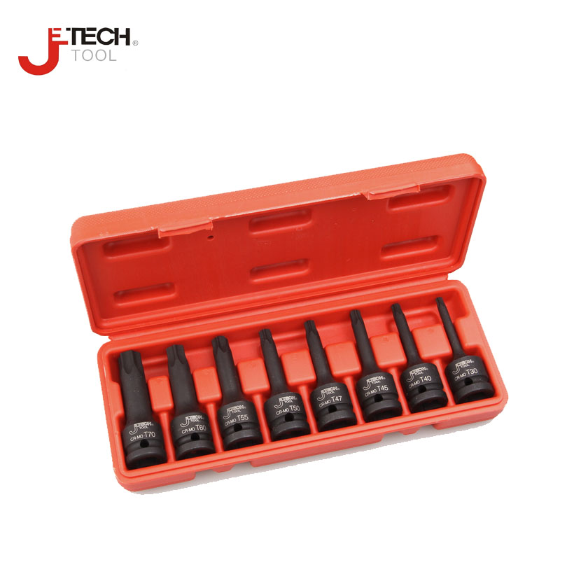 Jetech 8pcs 3 long black impact torx star socket bit 1/2 drive T30 T40 T45 T47 T50 T55 T60 T70 sleeve length:78mm without hole letter print raglan hoodie