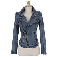 Spring Autumn Women Long Sleeve Stand Collar Cardigan Denim Jacket Lady Lapel Inclined Zipper Pocket Slim