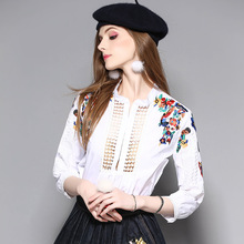 2017 New 3/4 Sleeve Fashion Elegant Embroidery Floral Flower White Blouses Shirts Plus Size Xl D080