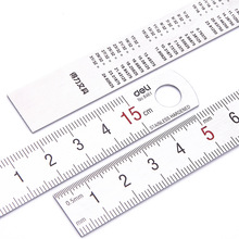 Free shipping deli 8461 ruler scale 15cm long no belt stainless steel ruler measuring instrument metal