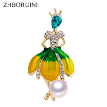 ZHBORUINI 2019 New Pearl Brooch Dancing Girl Breastpin Natural Freshwater Jewelry For Women High Quality Gift Pin