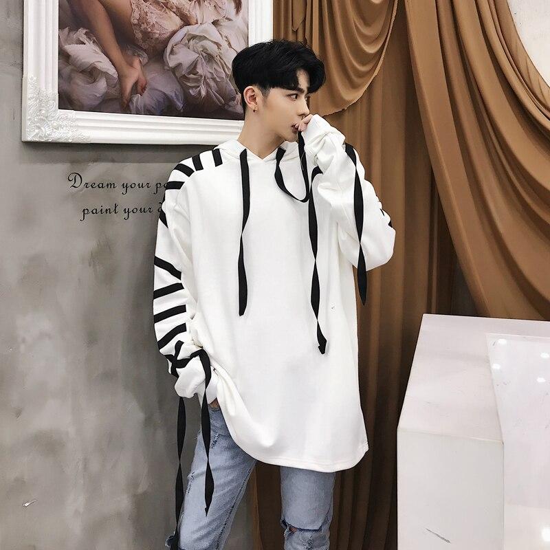 Streetwear Capucha Suelta Con Pullover Sudadera Cinta Hombres Hop blanco Nuevos Hip Negro Masculina Moda zvqnSY