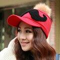 Осень и зима плюс бархат утолщение теплую шапку женская усы вязаная шапка мех кролика мяч бейсболка женская