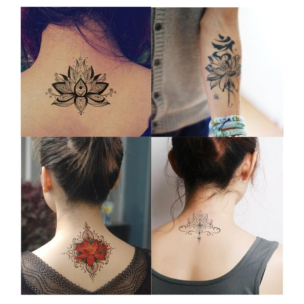 Lotus Flowers Big Temporary Tattoo Sticker Waterproof Women Girls Back Shoulder Chest Fake Tattoos 11X15cm
