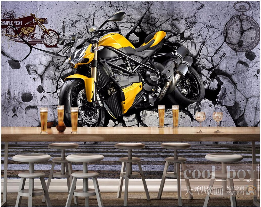 3d Room Wallpaper Custom Photo Mural Yellow Motorcycle Cool Wall Picture  Decor Painting 3d Wall Mural Wallpaper For Walls 3 D