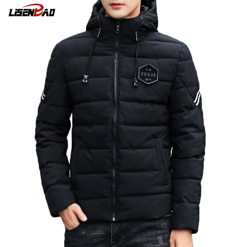 LiSENBAO Зимняя мода с капюшоном для мужчин куртка 2018 бренд повседневное качество s куртки и пальто для будущих мам толстые