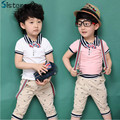 New arrival summer gentleman baby boy clothing suit T-shirt + strap + pants overalls beard bow Kids pink clothes Free Shipping