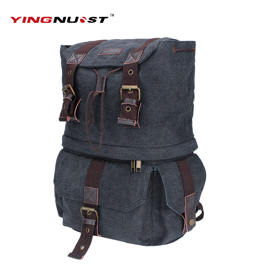Men Retro Canvas Camera Bag horse leather Soft Travel Bags Retro Photo Camera Backpack hasp Cover Military Style For Canon Nikon casual canvas satchel men sling bag