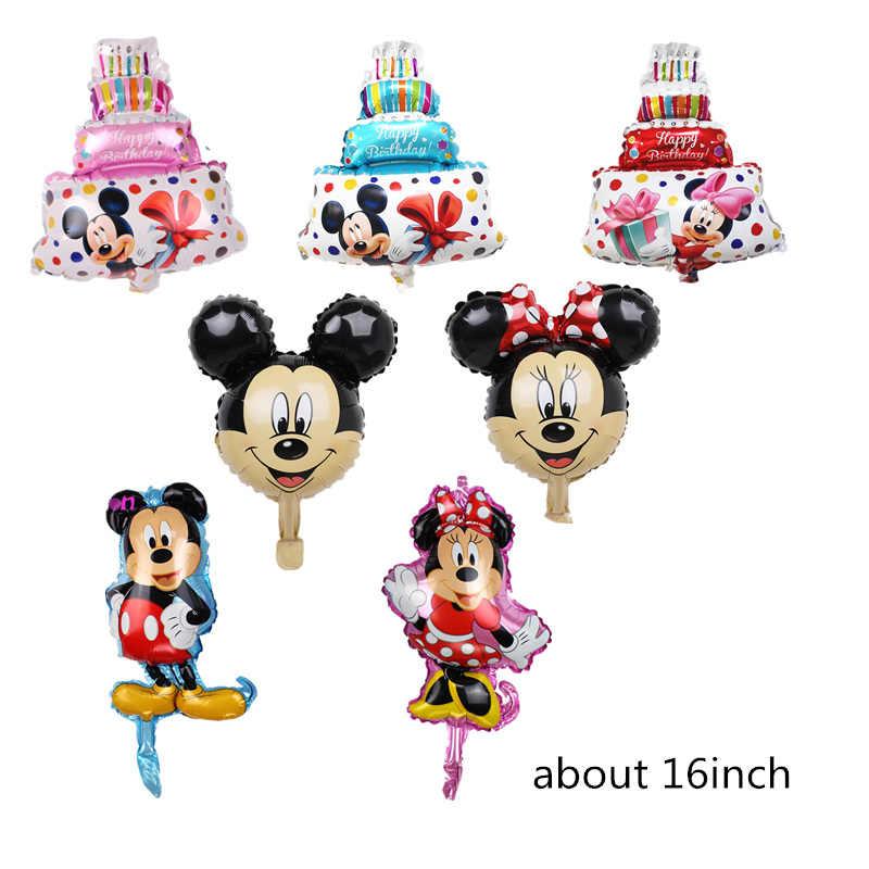 1 PC Mickey Minnie Foil Balon Ulang Tahun Pesta Baby Shower Boy Girl Globos Mickey Minnie Theme Perlengkapan Pesta Ballon