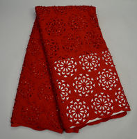 New trending 2017 African red lace fabric with beaded laser cut hand cut Korean lace,Luxury pearls embroidery cotton lace
