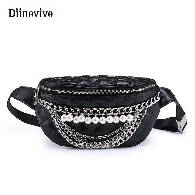 DIINOVIVO 2018 Free Shipping Women's Waist Bag Belt Women Leather Pearl Chain Waist Packs Fashion Travel Fanny Pack WHDV0441 dancer feather faux pearl waist belt chain